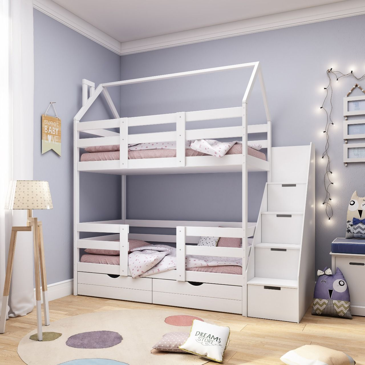Dreams Store / Classic bunk bed-lodge + white with chest of drawers