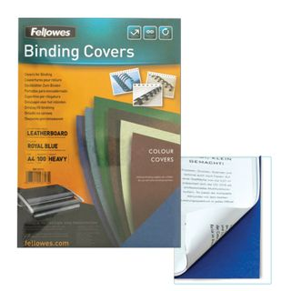 Cardboard covers for A4 binding, SET 100 pcs., Leather stamping, 250 g / m2, blue, FELLOWES