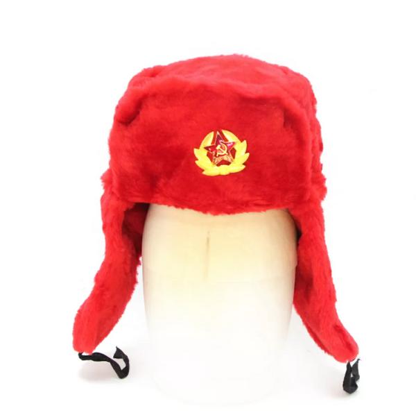 Matryoshka Factory / Red ushanka hat with cockade