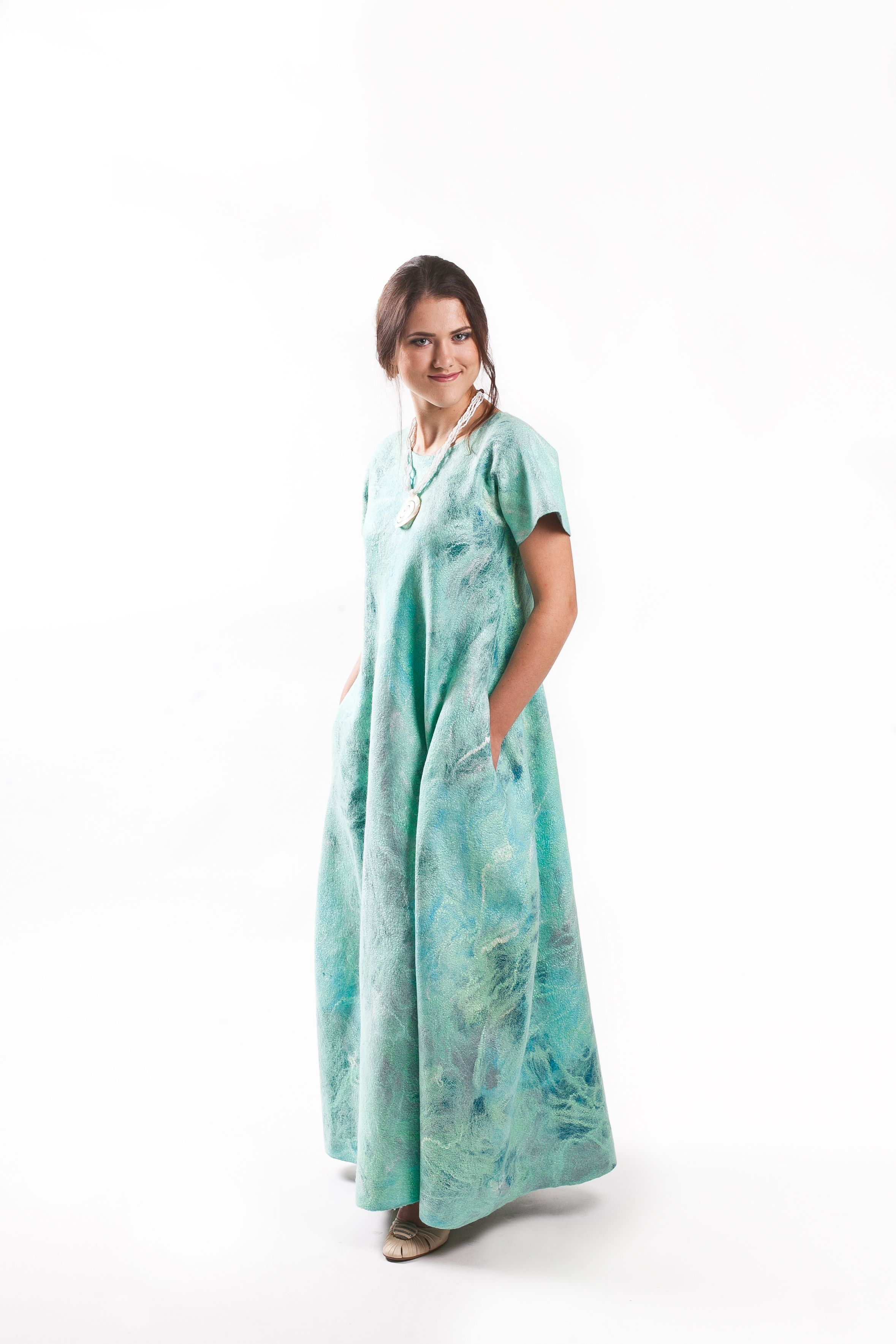 "Kudelka / Dress felted ""Blue Lagoon"" woolen"