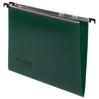Hanging folder A4 (350х245 mm), up to 80 sheets, SET of 5 PCs, plastic, green, BRAUBERG (Italy)