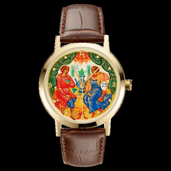"""Palekh watch """"Tea Party №33"""" quartz, hand-painted, artist Smirnov, braun band"""