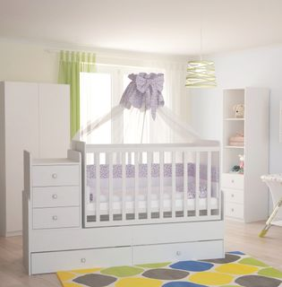 Convertible cot bed  Polini kids Simple 1100 with a drawer unit