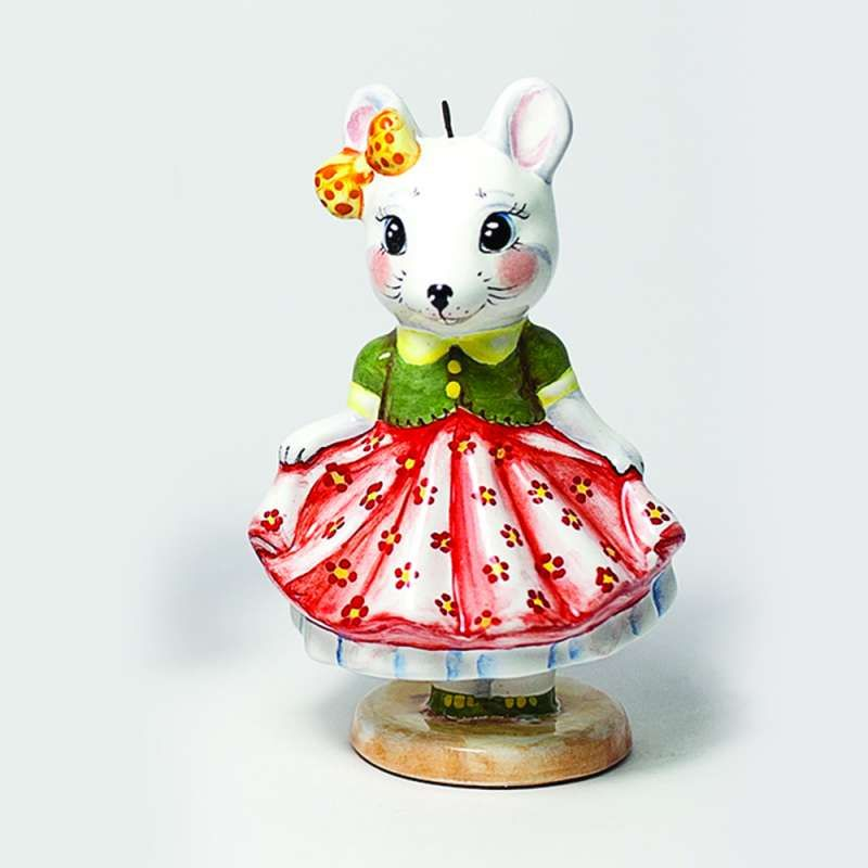 "Yaroslavl majolica / Pendant ""Mouse in a skirt"", on a stand"