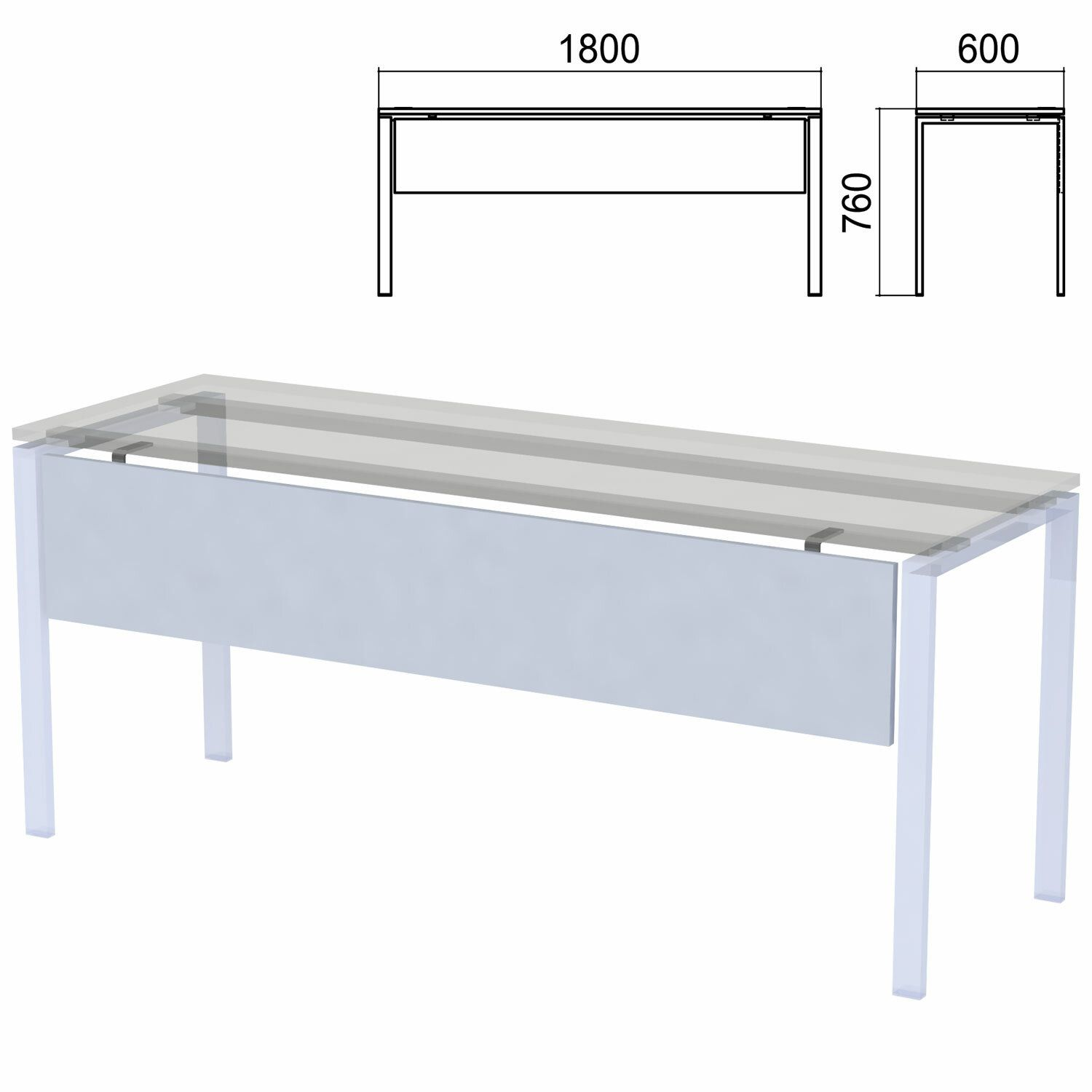 "Drawer for tables on metal frame ""Argo"", 1800 mm wide, gray"