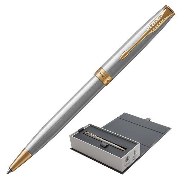 Ballpoint pen PARKER 'Core Sonnet Stainless Steel GT', silver body, gold plated details, black