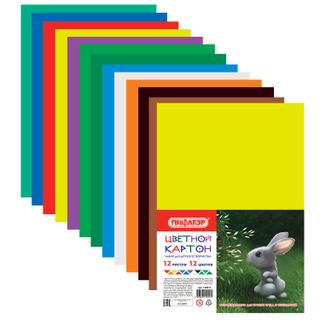 Cardboard A4 colored uncoated (matte), 12 sheets 12 colors, PYTHAGORAS, 200х283 mm