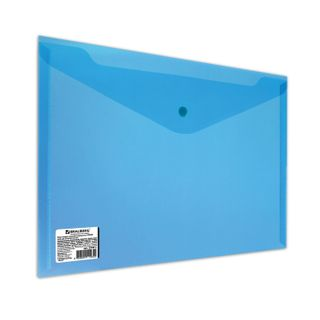 Folder-envelope with button BRAUBERG, A4, 100 sheets, clear, blue, heavy-duty, 0.18 mm