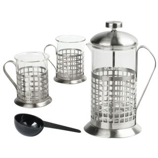 LIMA / Magic set, 600 ml French press + 2 200 ml glasses, heat resistant glass / stainless steel