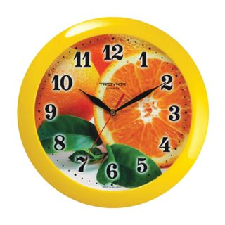 Wall clock TROYKA 11150126, round, with a pattern of Orange, yellow frame, 29х29х3,5 cm