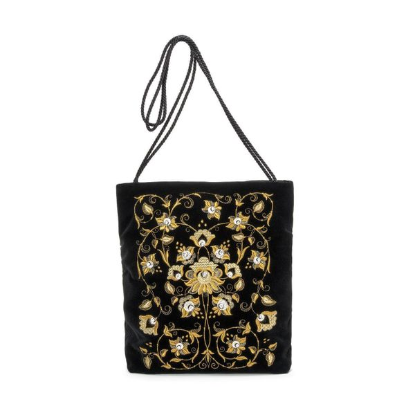 Velvet bag 'Winter's tale' in black with gold embroidery