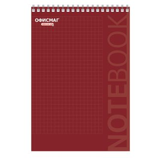 Notebook BIG FORMAT (200 x290 mm) A4, 80 sheets, comb, cardboard, hard substrate, cage, OFFICEMAG, red