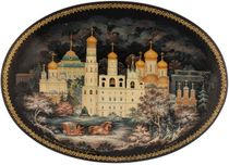 Kholuy art lacquer miniature Kremlin, Ivan the Great Bell Tower