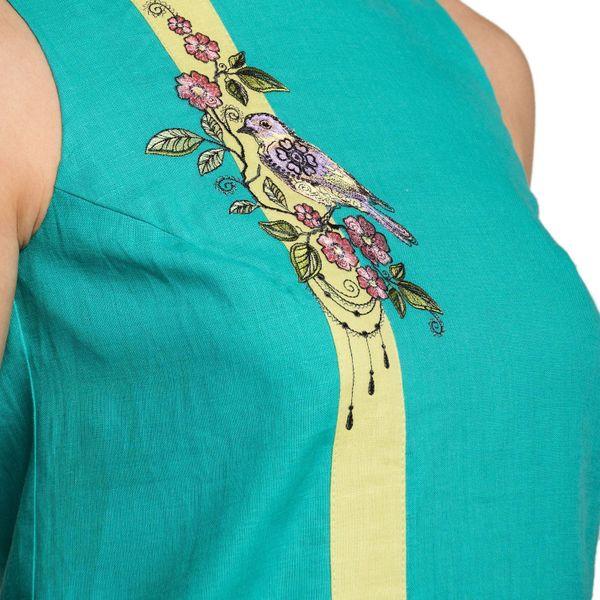 Dress women 'Wilsonia' green with silk embroidery