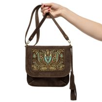 Suede bag 'iris' brown with gold embroidery