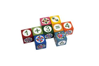 Souvenir cubes with elements of the account hand-painted