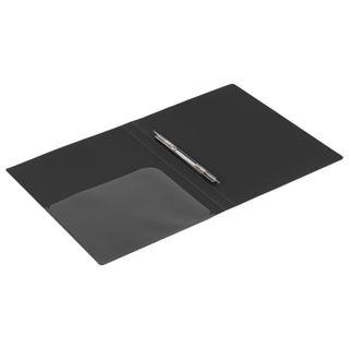Folder with metal binder and inner pocket BRAUBERG diagonal, black, 100 sheets 0.6 mm