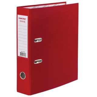 Folder-Registrar with FISMA arch mechanism, coated PVC, 75 mm, red