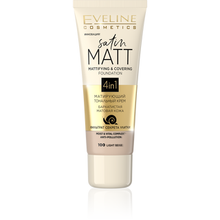 Mattifying cream Foundation No. 100-light beige series, satin matt, gloss, 30ml