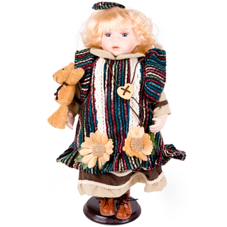 Porcelain doll in striped outfit