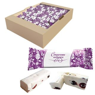 """CAPITAL PIECES / Sweets """"Nougat with cranberries and almonds"""", 2 kg, by weight, corrugated box"""