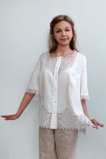 Blouse womens linen 9-122