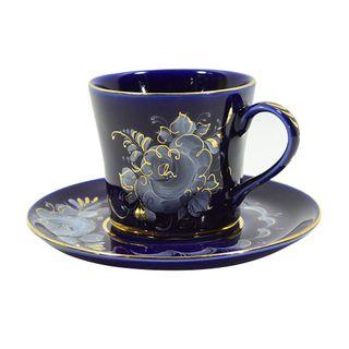 A couple of tea Natalia cobalt paint gold, Gzhel Porcelain factory