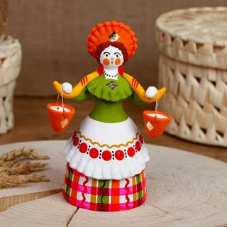 Dymkovo clay toy Lady-the water-bearer