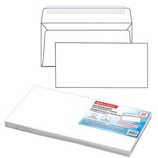 Envelopes E65 (110x220 mm), tear-off strip, white, SET of 25 PCs, internal sealing, BRAUBERG