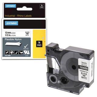 DYMO Rhino label printer cartridge, 12 mm x 3.5 m, nylon ribbon, black print, uneven surface, white