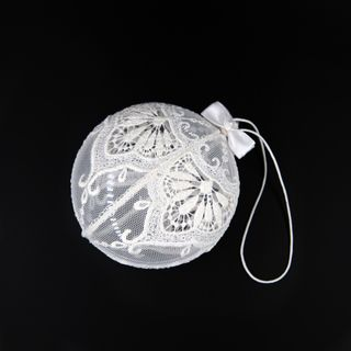 The new year's ball the lace flat on the grid with hand embroidery, d=9 cm