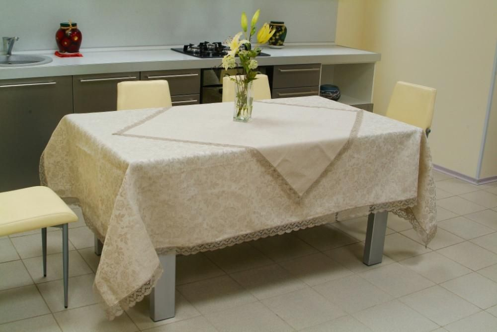Set of table linens with handmade lace around the perimeter