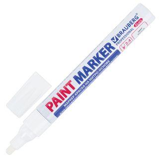 Marker-paint lacquer 4 mm, WHITE, NITRO-BASE, aluminum housing, BRAUBERG PROFESSIONAL PLUS