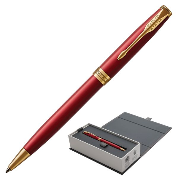 Ballpoint pen PARKER 'Sonnet Red Lacquer Intense Core GT', body red glossy lacquer, gold plated parts, black