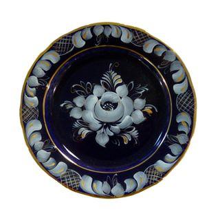 Dessert plate oak hollow cobalt Gzhel Porcelain factory