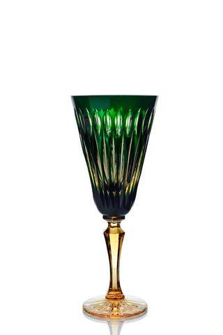 "Set of crystal glasses ""Ivan Kupala"" amber-green 6 pieces"