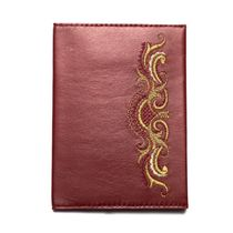 Passport cover 'Morning' maroon color with Golden embroidery