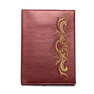 """Passport cover """"Morning"""" maroon color with Golden embroidery"""
