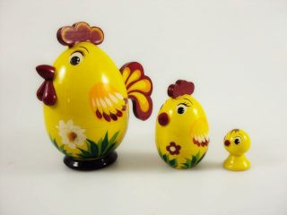 Matryoshka Egg 3 places Cockerel - Souvenir