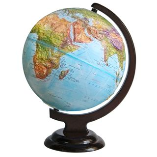 Geographical relief globe with a diameter of 250 mm on wooden stand