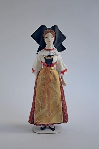 Doll gift. Women's costume of the 19th century France. Strasbourg