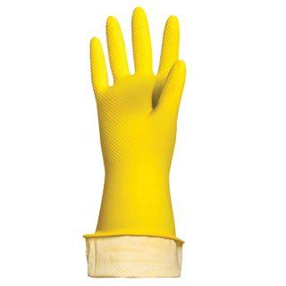 "LIME / Latex household gloves ""Lux"" REUSABLE, cotton dusting, dense, size M (medium)"