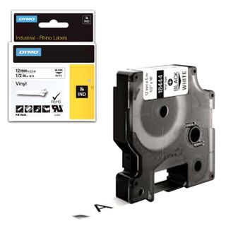 DYMO Rhino label printer cartridge, 12 mm x 5.5 m, vinyl tape, black font, white