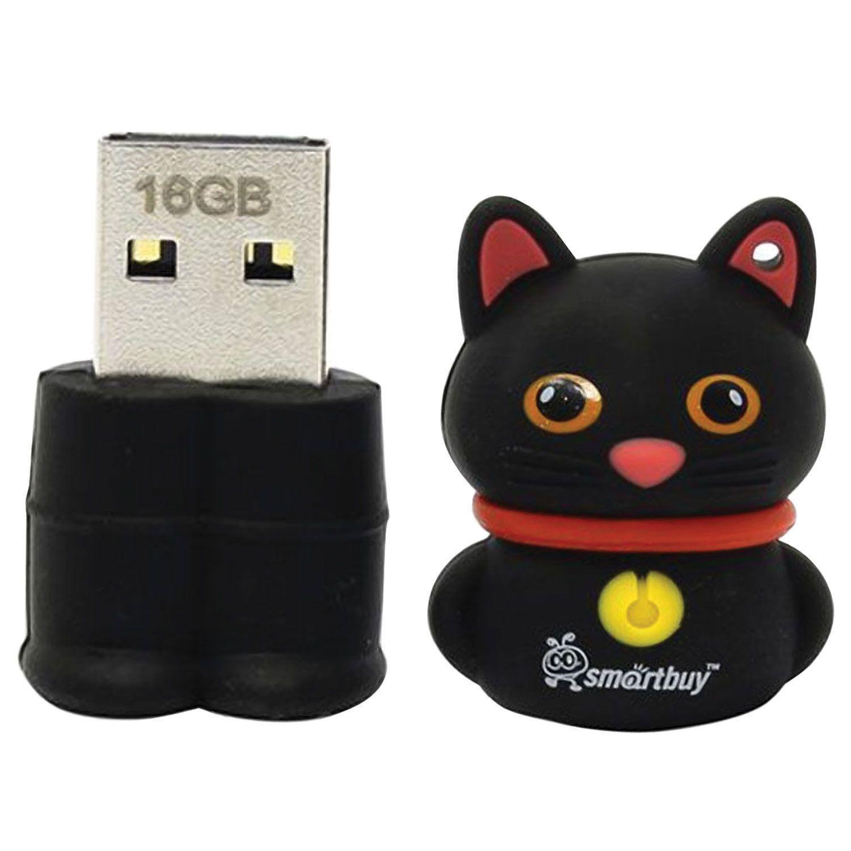 "SMARTBUY / Souvenir flash drive 16 GB, Wild ""Kitten"", USB 2.0, black"