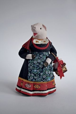 Doll gift. Pig with basket of piglets