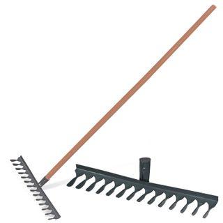 Classic twisted rake, 14 teeth, width 42 cm, wooden handle 120 cm