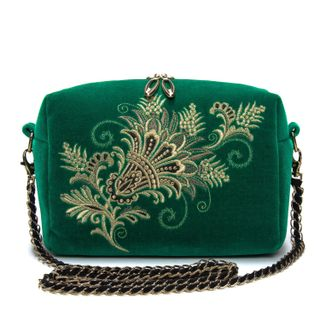 "Velvet bag with chain ""of Lianet"" green with gold embroidery"