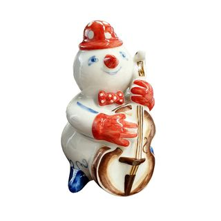 The sculpture Snowman with bass art painting underglaze paint 1 grade, Gzhel Porcelain factory