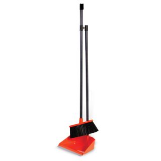 IDEA / Dustpan 25x20 cm + broom 20x8 cm with long handles 80 cm, plastic, orange