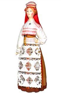 Doll gift. Estonian women's costume mid-19th century. Region: Hiiumaa.